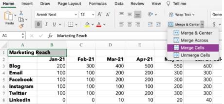 Cómo fusionar dos celdas en Excel
