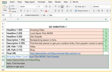 Fusionar y centrar en el ejemplo de Excel