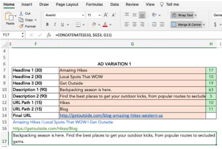 un ejemplo de fusión en Excel