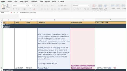 función concate en el ejemplo de Excel