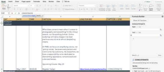 un ejemplo de la función concatenar en Excel