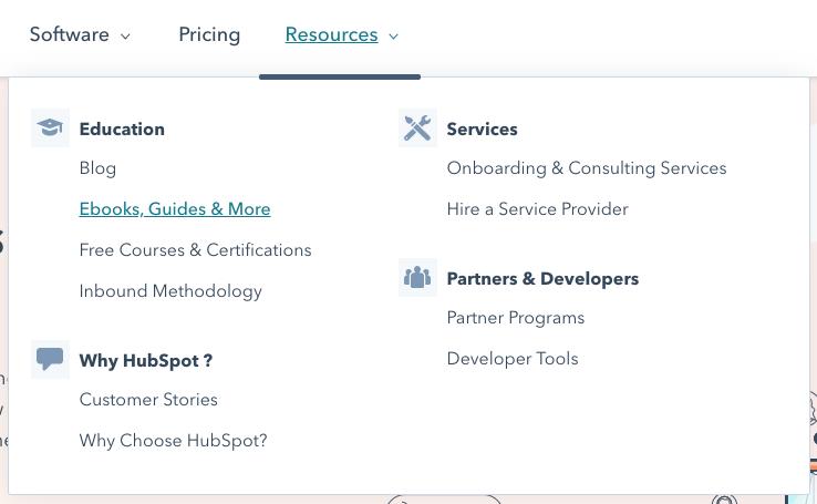 Ejemplo de navegación de nivel superior de la página de inicio de HubSpot