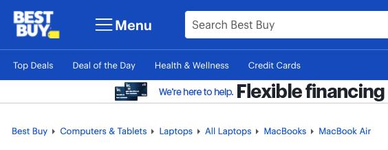 Breadcrumbs en el sitio web de Best Buy que muestra la estructura de su sitio