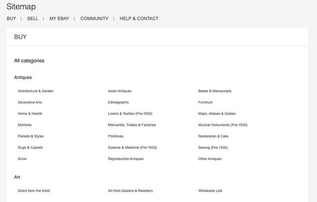 Ejemplo de mapa de sitio HTML de Ebay que muestra la estructura de su sitio