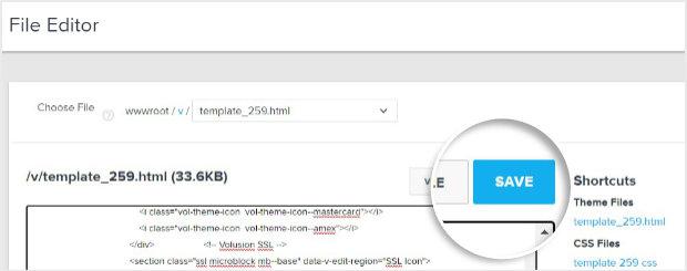 Botón Guardar en Volusion File Editor