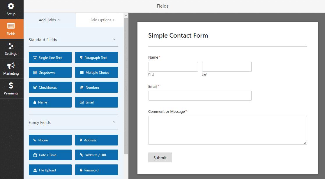 formulario de contacto simple wpforms