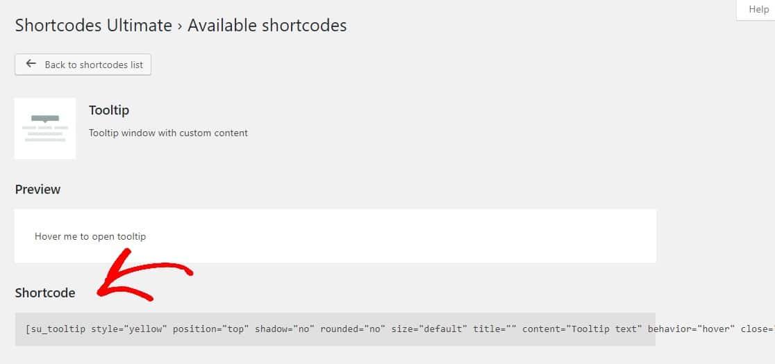 copiar código corto de información sobre herramientas