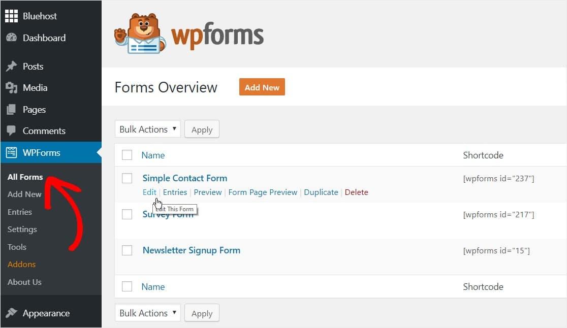 edita tu formulario de contacto simple