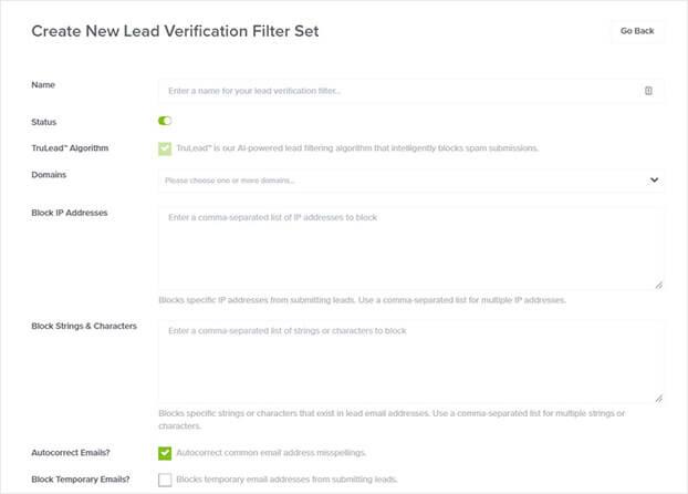 OptinMonster de verificación de clientes potenciales