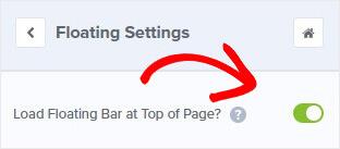 Cargue la barra flotante en la parte superior de la página_