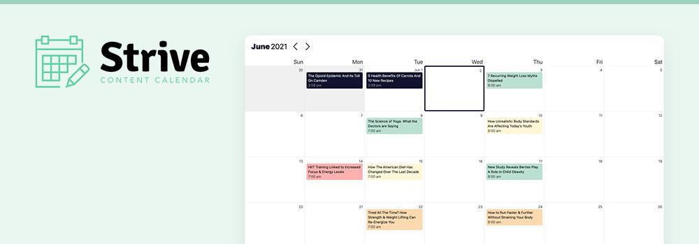 Calendario de contenido de Strive