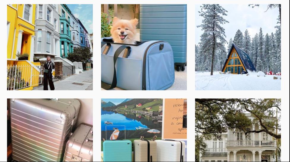 Ejemplos de publicidad en Instagram de Away.