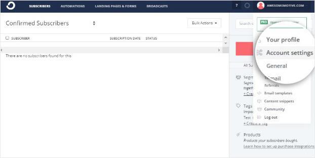 Configuración de la cuenta ConvertKit_