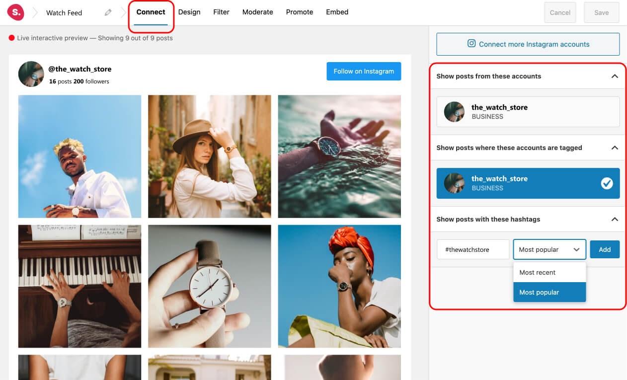 Hashtag y feeds de Instagram etiquetados
