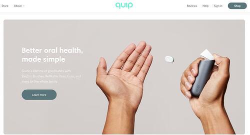 ejemplo de espacio en blanco de jerarquía visual de Quip