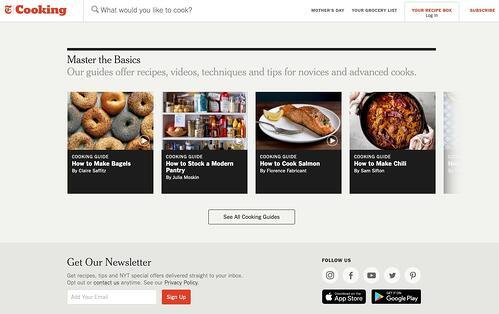 ejemplo de repetición y proximidad de jerarquía visual de NYT Cooking