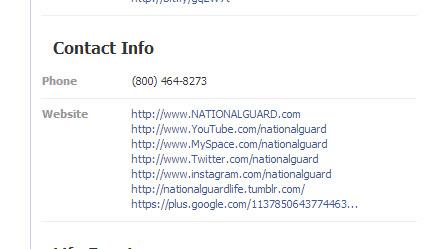 Guardia Nacional Facebook Enlaces de página a otros perfiles sociales