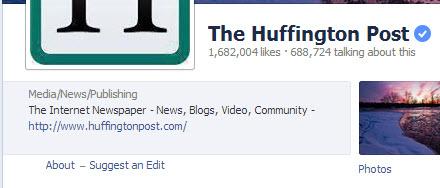 Correo Huffington Facebook Enlace de página al sitio web