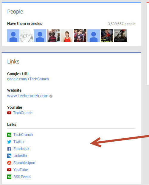 Enlaces de Techcrunch Google Plus a otros perfiles sociales