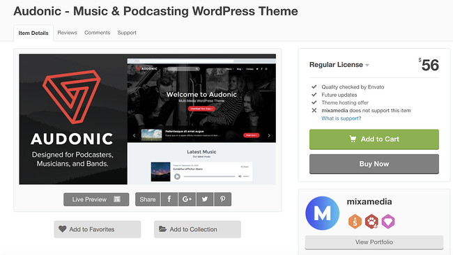 tema de wordpress audonic para la página de descarga de podcasts