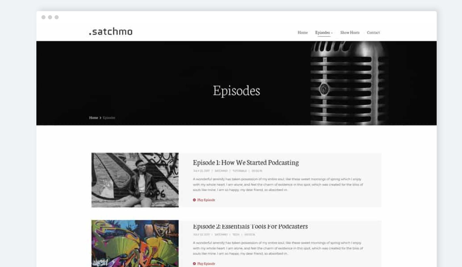 tema satchmo wordpress para la página de descarga de podcasts