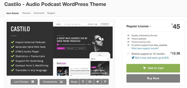 Castilo wordpress tema para la página de descarga de podcasts