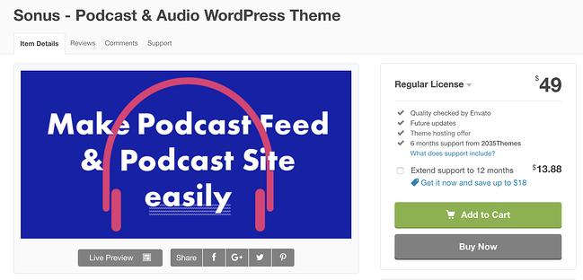 tema de sonus wordpress para la página de descarga de podcasts