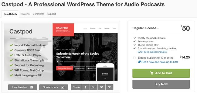 página de descarga del tema castpod wordpress para podcasts