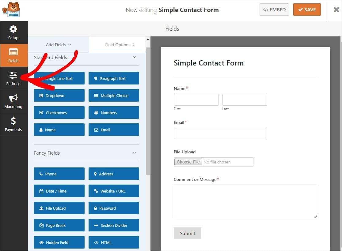 haga clic en configuración en el panel de la izquierda
