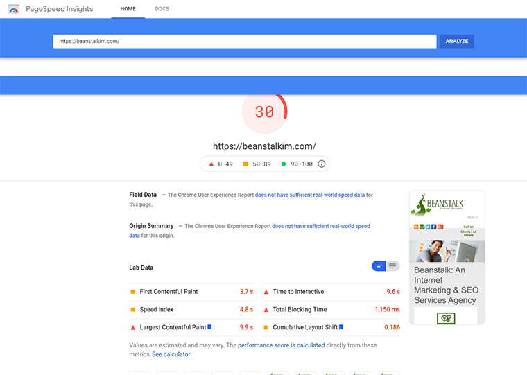 PageSpeed Insights en el sitio web de Beanstalk.
