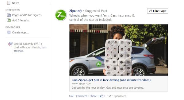 Zipcar Facebook Anuncio de noticias en tiempo real