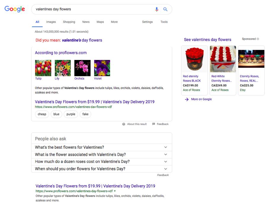 Ejemplo de datos estructurados en Google