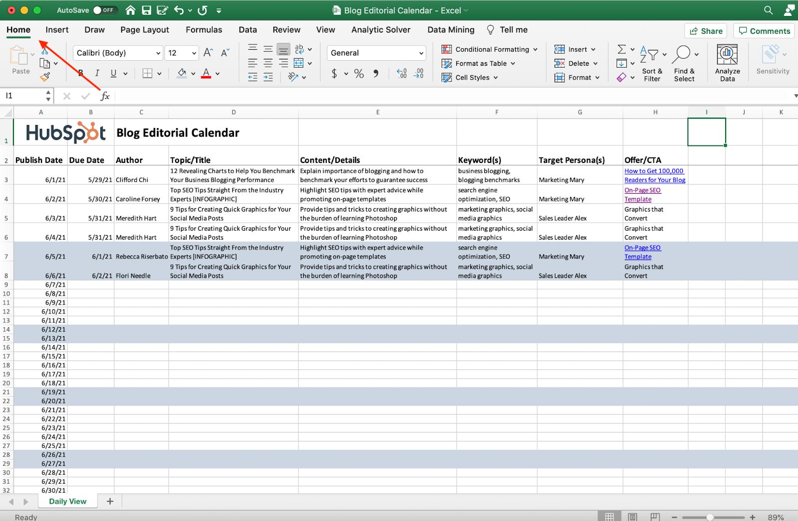 Captura de pantalla de la pestaña de inicio de Excel.