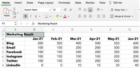 fusionando dos celdas en Excel