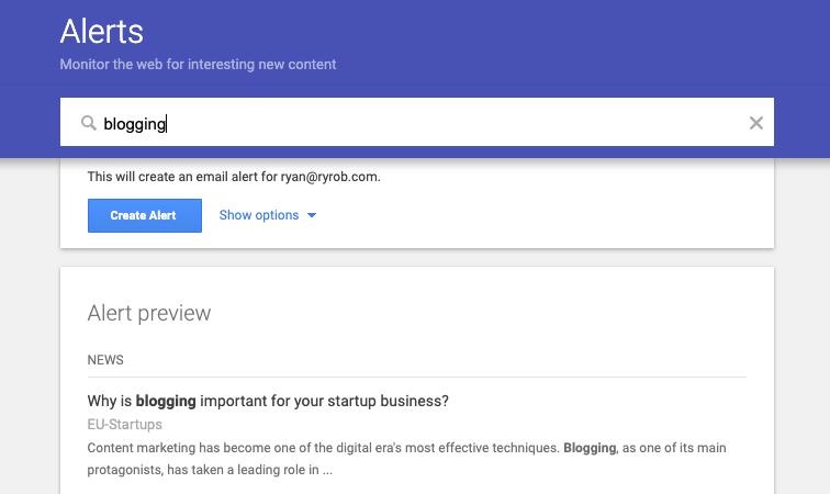 Alerta de Google sobre blogs (captura de pantalla)