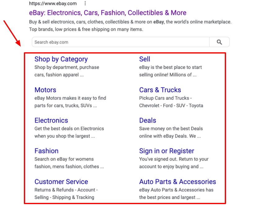 Enlaces de sitio de eBay en los resultados de búsqueda de Google.