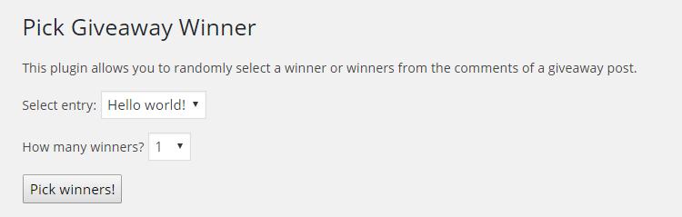Elija el complemento ganador del sorteo