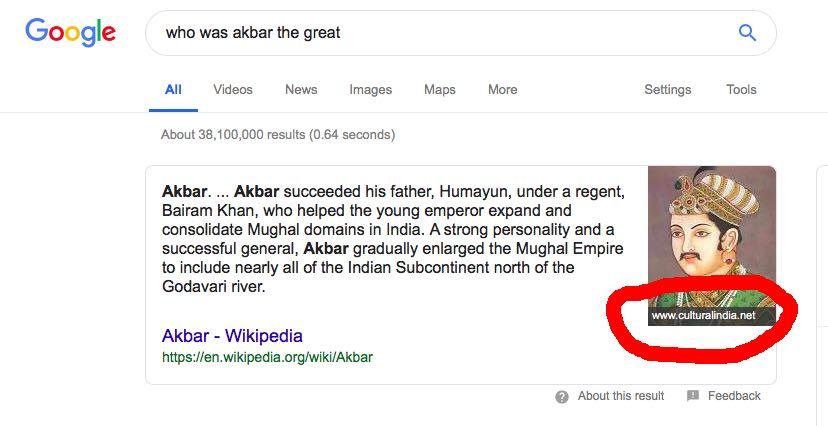 Ejemplo de fragmento de Google