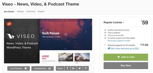 viseo wordpress theme para la página de descarga de podcasts