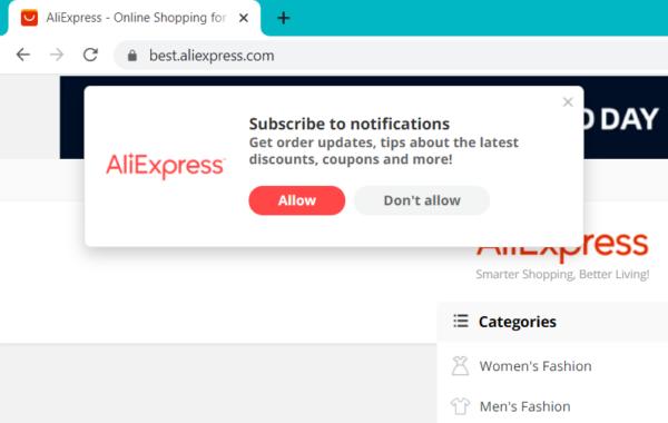 Solicitud de permiso para enviar notificaciones en AliExpress