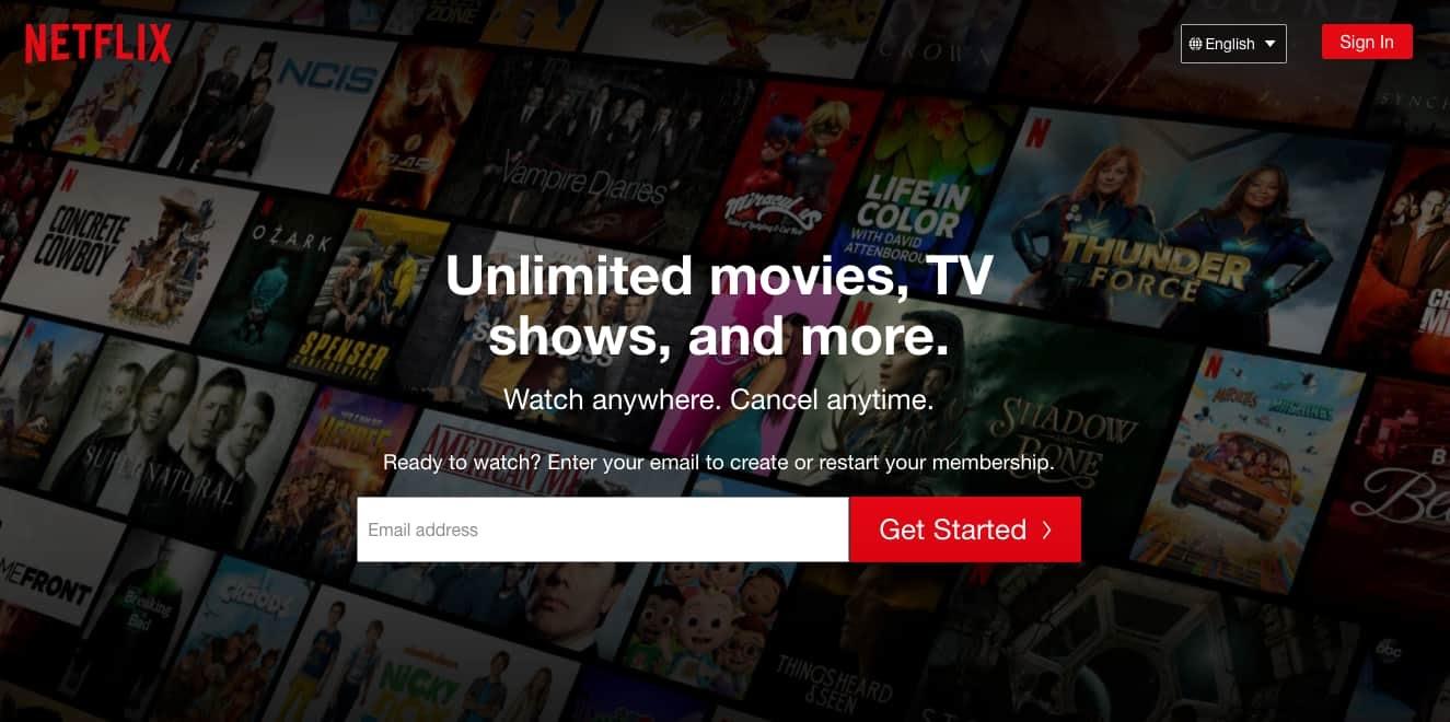 ejemplo de tamaño de jerarquía visual de Netflix