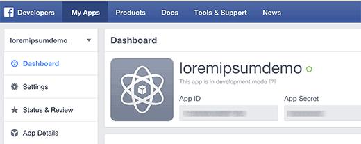 Facebook  panel de la aplicación