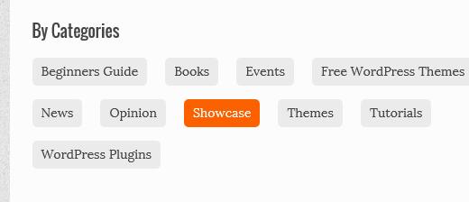 Visualización de categorías en línea en la página de archivos en WordPress