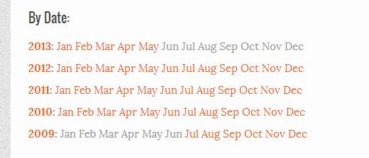 Visualización de archivos mensuales un año por fila utilizando Compact Archives