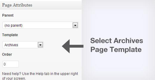 Seleccionar plantilla de página de archivos en WordPress