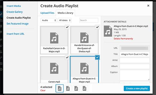 Creando una lista de reproducción de audio en WordPress