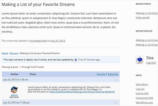 Temas del foro de bbPress debajo de las publicaciones de WordPress como comentarios