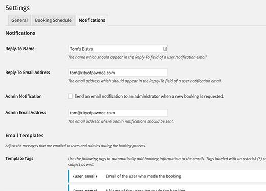 Personalización de notificaciones de reserva para reservas de restaurantes