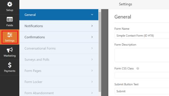 Cambiar la configuración de su formulario