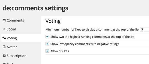 Configuración de votación de comentarios